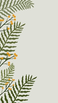 Листовая ботаническая копия пространства на сером фоне телефона
