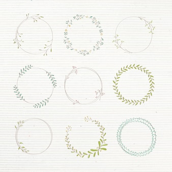 잎이 많은 낙서 스티커 디자인 요소 세트