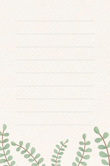 Leafy patterned note background