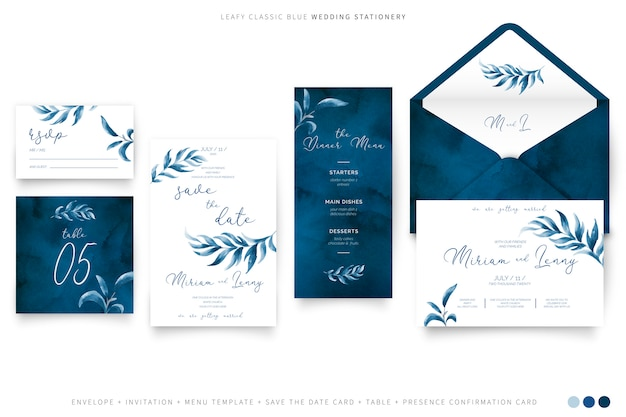 Leafy wedding stationery in classic blue color