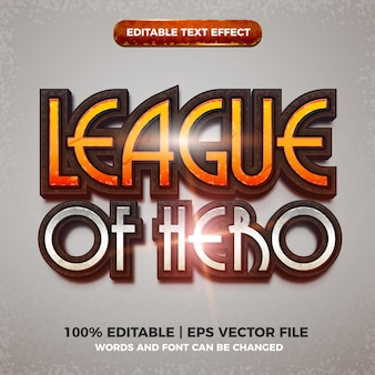 League of hero editable text effect cartoon comic game title 3d style