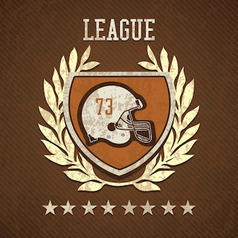 League shield of american football on  brown background