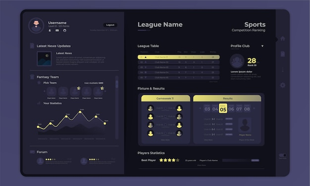 League table game competitions on dashboard admin panel interface with dark mode concept