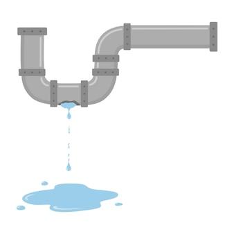 Протекающая труба с проточной водой