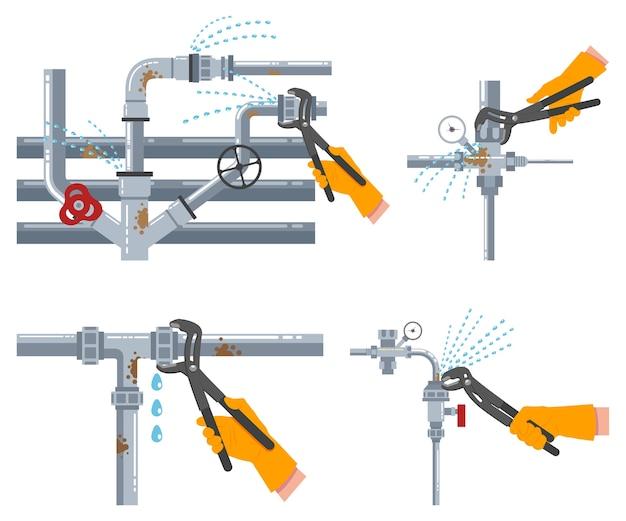 Протекающие водопроводные трубы и ремонт сантехники разводным ключом