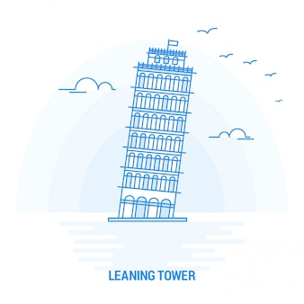 Leaning tower blue landmark