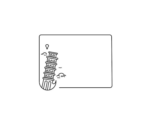 Пизанская башня рисованной, пиза - наброски для дизайна векторные иллюстрации