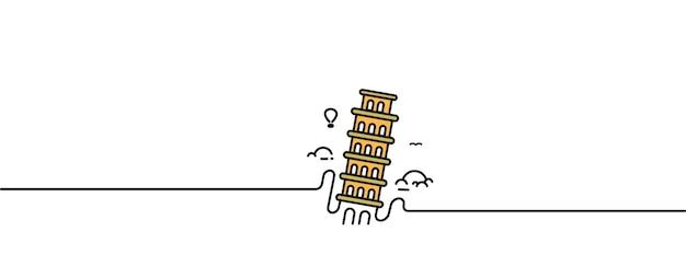Пизанская башня рисованной пиза.