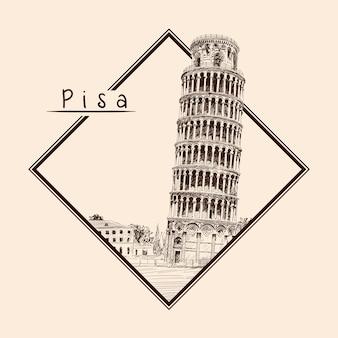 ピサの斜塔。イタリア、。ベージュの背景に鉛筆スケッチ。長方形のフレームと碑文のエンブレム。