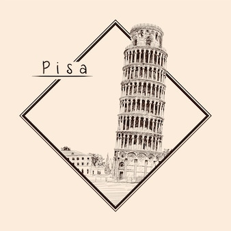 Leaning tower of pisa. italy,. pencil sketch on a beige background. emblem in a rectangular frame and an inscription.
