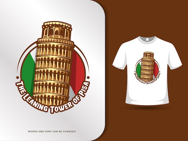 The leaning tower of pisa landmarks and flag of italy illustration with t-shirt design template