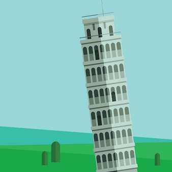 Leaning tower of pisa vector illustration