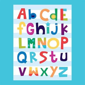 어린이 및 어린이 교육을 위한 알파벳 az 일러스트레이션 디자인 배우기