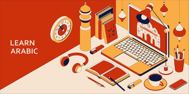 Learn arabic language isometric concept with open laptop, books, headphones, and coffee.