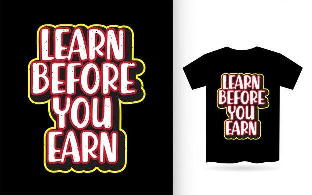 Узнайте, прежде чем заработать дизайн надписи для футболки