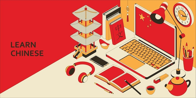 Learn chinese language isometric concept with open laptop, books, headphones, and tea. translation chinese language