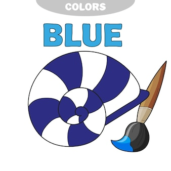 Learn colors - blue. coloring page seashell. black and white vector illustration.