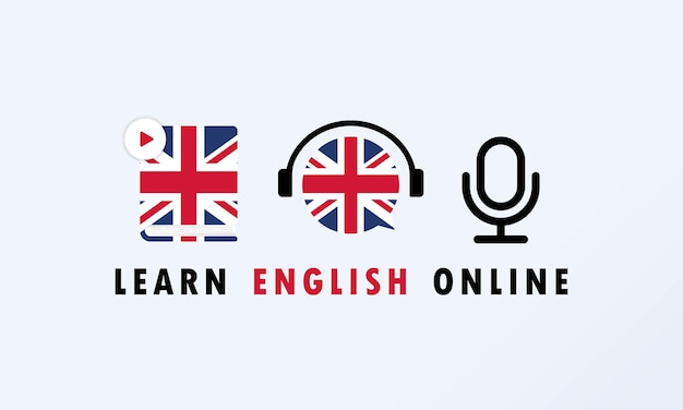 Learn english online banner. digital course. online education. online language courses.  vector