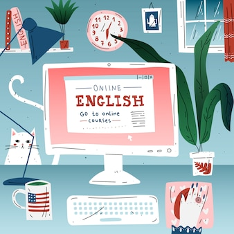 Learn english online education language. workplace, desktop computer.