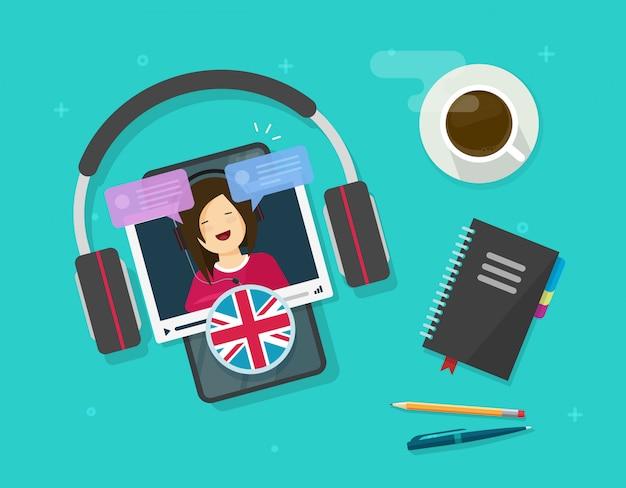 携帯電話でオンラインで英語を学ぶか、デスクテーブルベクトルフラット漫画イラストをモバイルスマートフォン教育レッスンで外国語を学ぶ