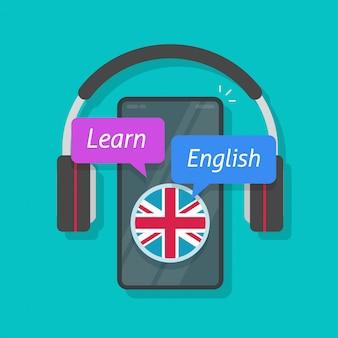 携帯電話とスマートフォンのヘッドフォンオーディオ教育ベクトル概念フラット漫画スタイルのイラストでオンラインで英語または外国語を学ぶ
