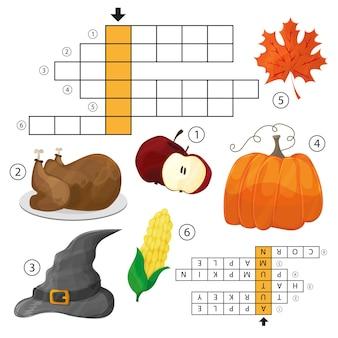 Учите английский в осеннем кроссворде для детей. векторная иллюстрация. тема хэллоуина и дня благодарения