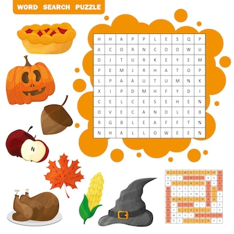 Учите английский с помощью детской игры с осенним поиском слов. векторная иллюстрация. тема хэллоуина и дня благодарения
