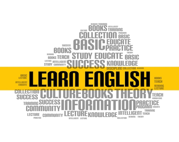 Learn english word cloud course. education language school online lesson foreign language.