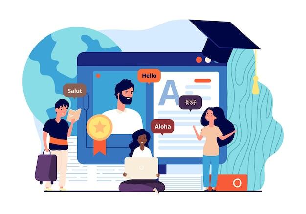 オンラインで外国語を学びましょう。遠隔教育、教師の国はインターネット上で子供たちに言語を教えています。個々のレッスンメッセンジャーベクトル。イラストオンライン学習言語とコミュニケーション