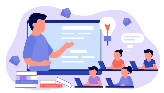 Learn from distance with man teacher, online education. kids boy and girl is sitting on laptop and studying lesson. child learns remotely. home school, web e-learning, knowledge concept. flat