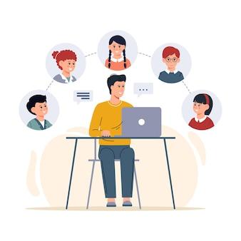 교사 남자 온라인 교육과 거리에서 배우기 수업을 공부하는 어린이 소년과 소녀