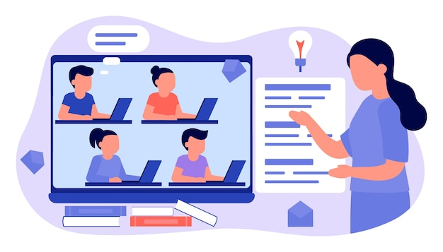 Learn from distance with teacher, online education. kids boy and girl is sitting on laptop and studying lesson. child learns remotely. home school, web e-learning, knowledge concept. flat style