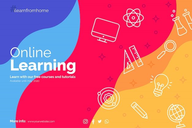 Learn from home banner with education icons
