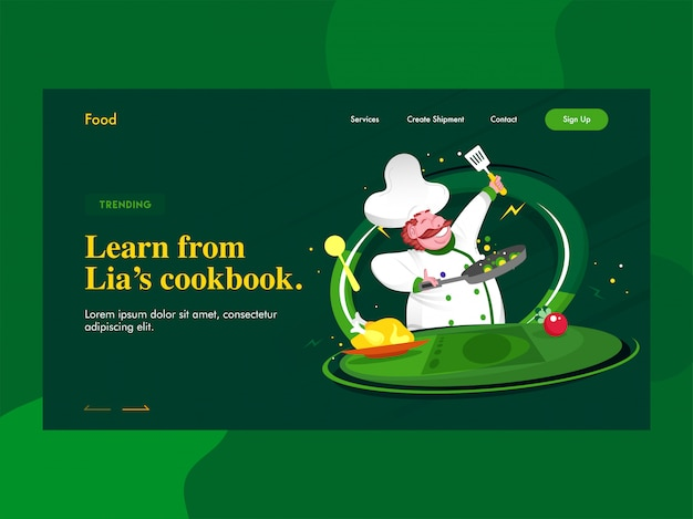 Learn from lien's cookbook landing page  with chef character cooking on green .