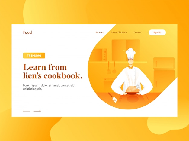 Learn from lien's cookbook landing page  with chef character presenting chicken on kitchen view.