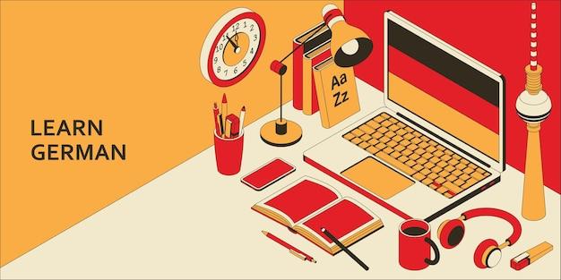 Изучайте изометрическую концепцию немецкого языка с открытым ноутбуком, книгами, наушниками и кофе.