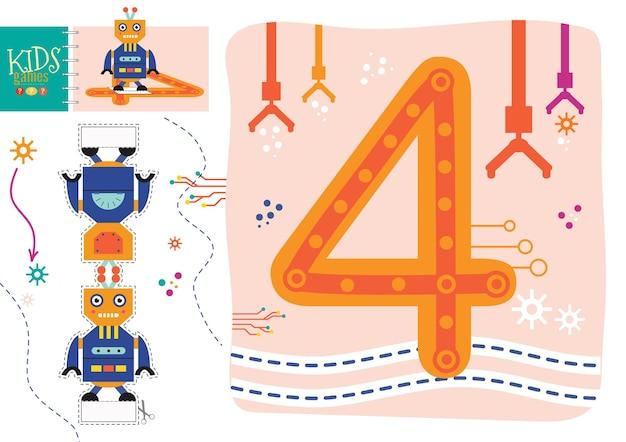 취학 전 어린이 그림 게임에 숫자 4를 쓰는 방법을 배우십시오. 숫자 기호 4가있는 로봇 장난감과 워크 시트를 자르고 붙이십시오.