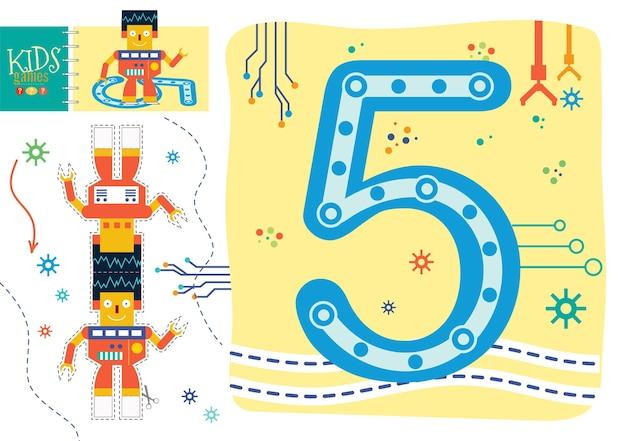 취학 전 어린이 그림 게임에 숫자 5를 쓰는 방법을 배우십시오. 숫자 기호 5가있는 로봇 장난감과 워크 시트를 자르고 붙이십시오.