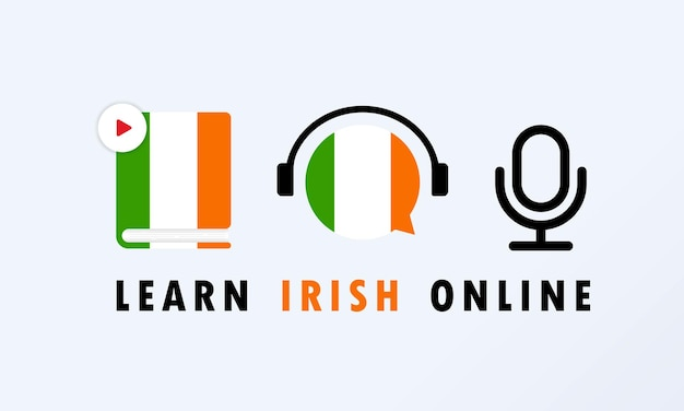 아일랜드어 온라인 배너를 알아보십시오. 외국어 배우기. 온라인 교육.