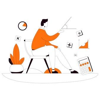 Learn math study online flat style illustration