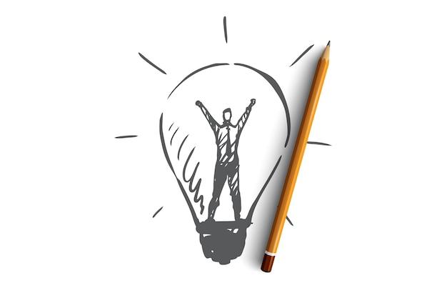 詳細、情報、知識、成功、研究コンセプトをご覧ください。電球の概念スケッチの中に立っている手描きの男。