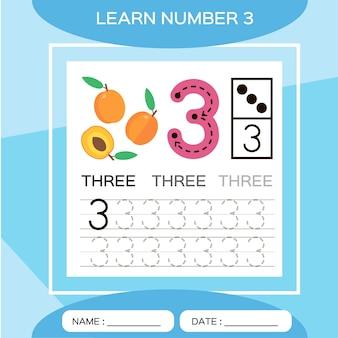 番号3を学びます。3。子供の教育ゲーム。トレース番号3と書き込みをしましょう。カウントゲーム。