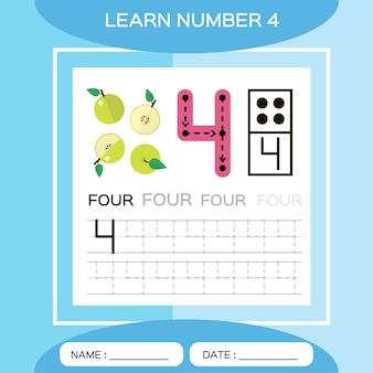 4 번 배우십시오. 어린이 교육 게임. 번호 4를 추적하고 쓸 수 있습니다. 카운팅 게임.