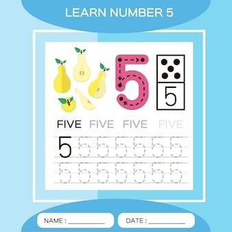 番号5を学びます。5。子供の教育ゲーム。トレース番号5を書き込みましょう。カウントゲーム。