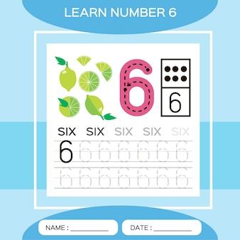 番号6を学びます。6。子供の教育ゲーム。トレース番号6と書き込みをしましょう。カウントゲーム。