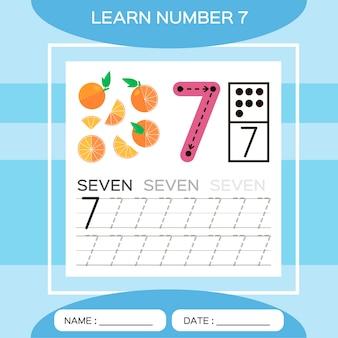 番号7を学びます。7。子供の教育ゲーム。トレース番号7と書き込みをしましょう。カウントゲーム。