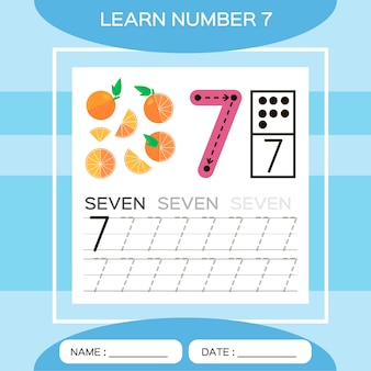 Learn number 7. seven . children educational game. lets trace number 7 and write. counting game.