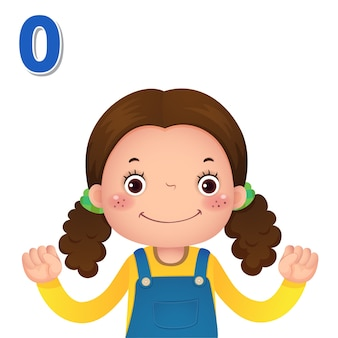 数字を学び、数字のゼロを示す子供の手で数える