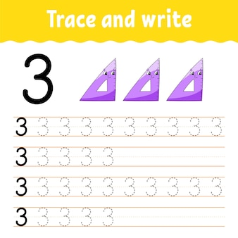 Learn numbers. trace and write. back to school. handwriting practice. learning numbers for kids.