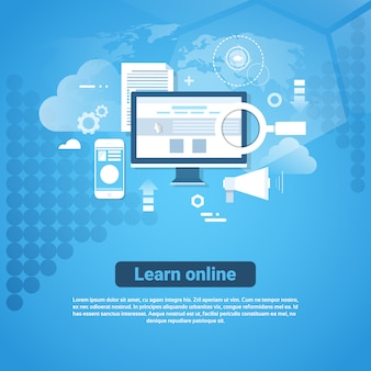 Learn online template web banner with copy space distant education concept